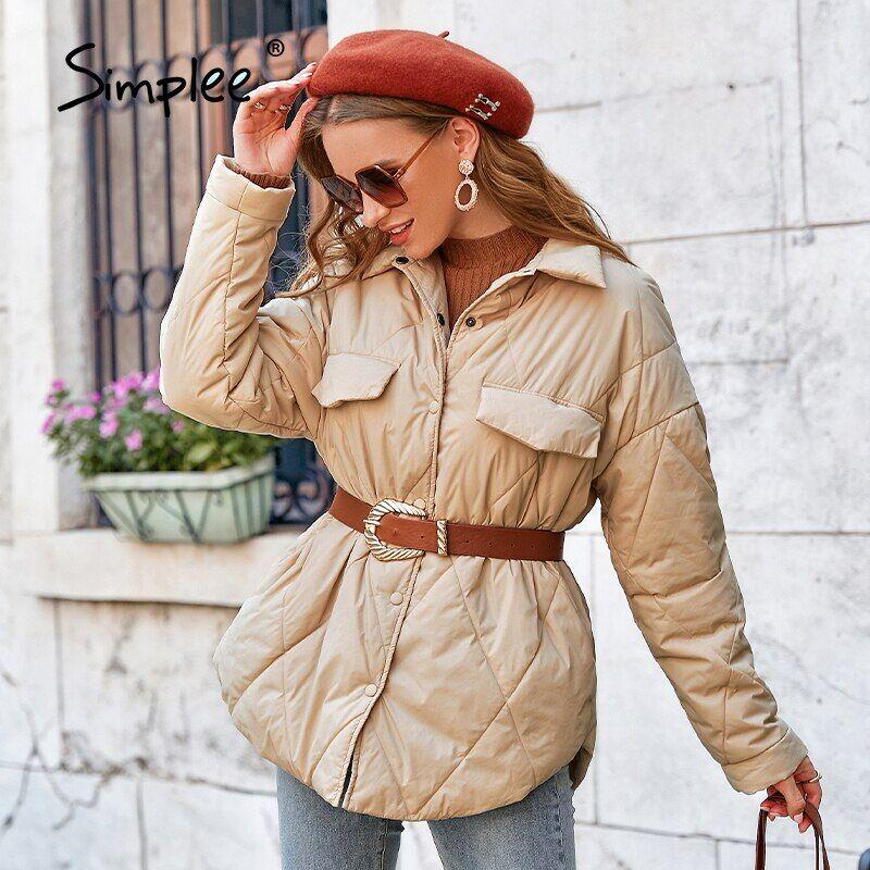 AliExpress Simplee – manteau court à manches longues pour femme, vêtement d'hiver élégant avec poches à boutons