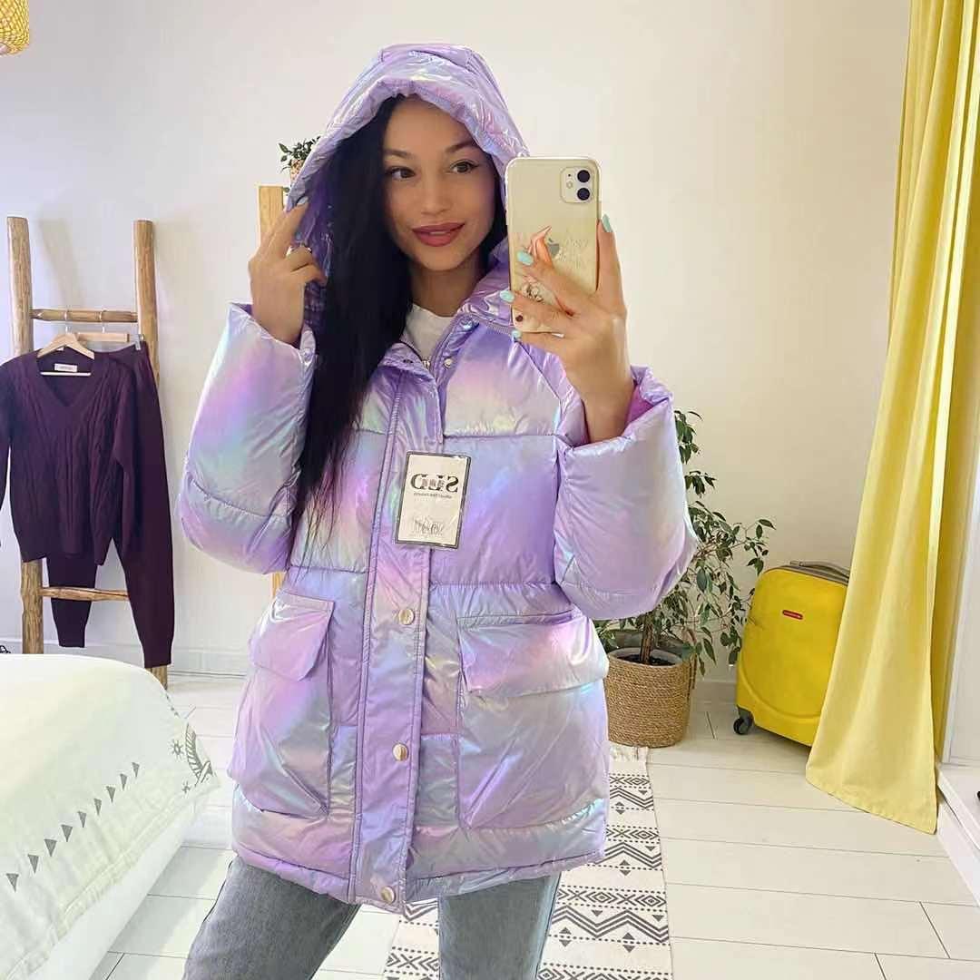 AliExpress Vêtements d'hiver en coton pour femmes, face brillante, ample et épais, nouvelle collection 2021