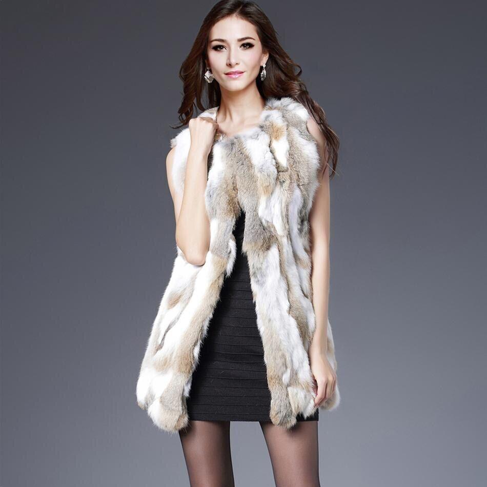 AliExpress Gilet en fourrure de lapin véritable pour femme, vêtement d'extérieur sans manches