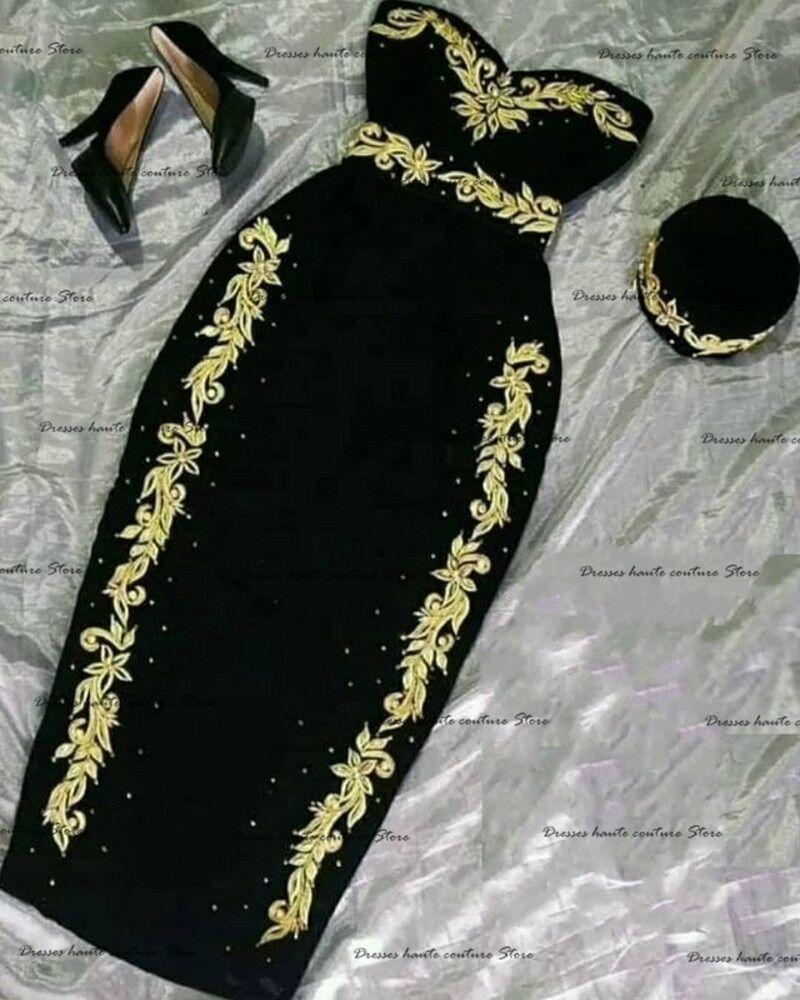 AliExpress Robe de soirée noire algérien, tenue de bal, Caftan marocain, avec des Appliques dorées, style