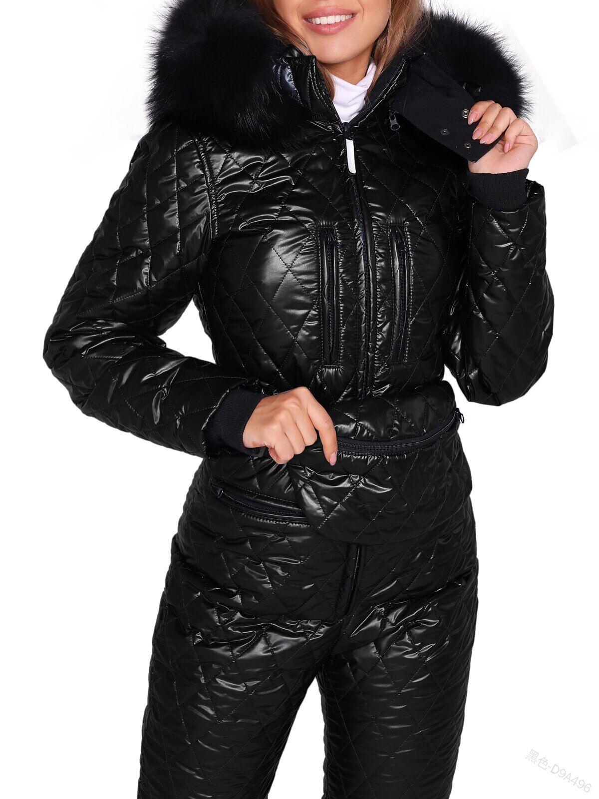 AliExpress Combinaison de Ski pour femme, vêtements d'extérieur d'hiver, col en fourrure, garniture, capuche,
