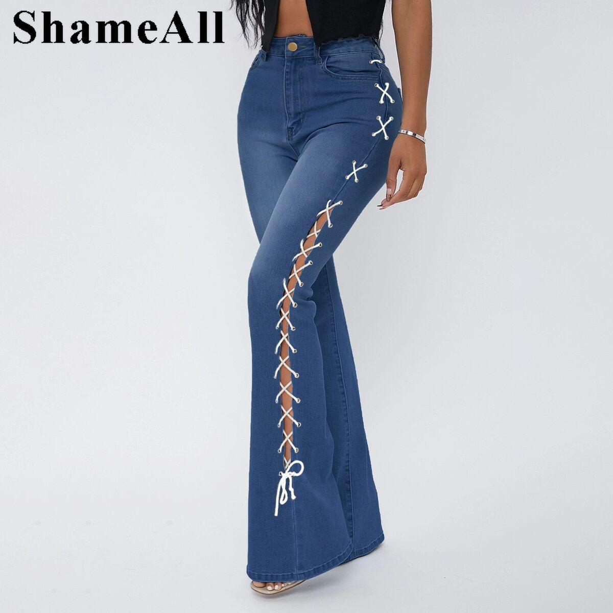 AliExpress Jean Stretch évasé taille haute 5xl, Streetwear Vintage, pantalon en Denim Goth Y2k