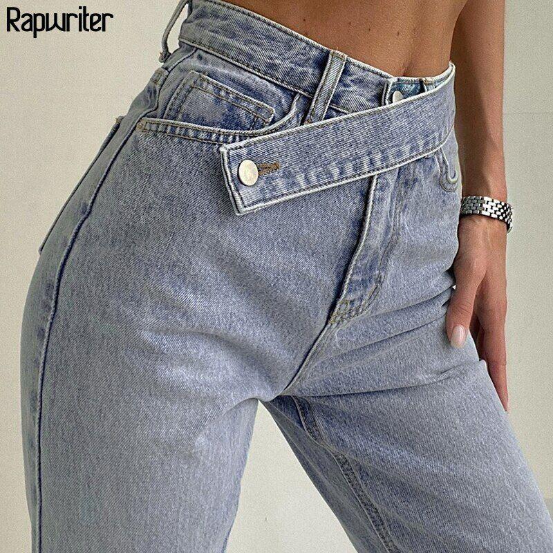 AliExpress Jean maman taille haute bleu pour femmes, pantalon large en Denim, Streetwear Harajuku, droit,