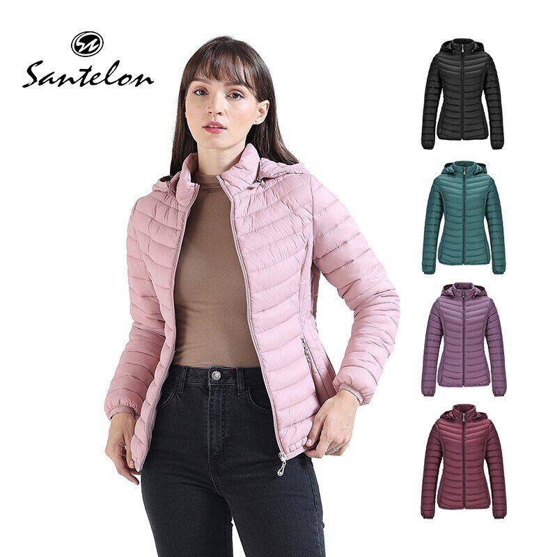 AliExpress SANTELON – veste rembourrée d'hiver pour femme, Parka courte et mince, vêtements chauds d'extérieur,