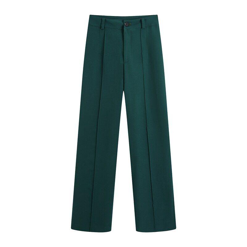 AliExpress Pantalon taille haute pour femme, vêtement de costume vert, ample, Long, à jambes larges, à la mode,