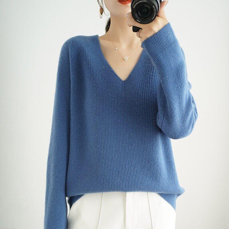AliExpress Pull en cachemire à col en V pour femme, haut de gamme, ample, grande taille, tricoté, vêtements