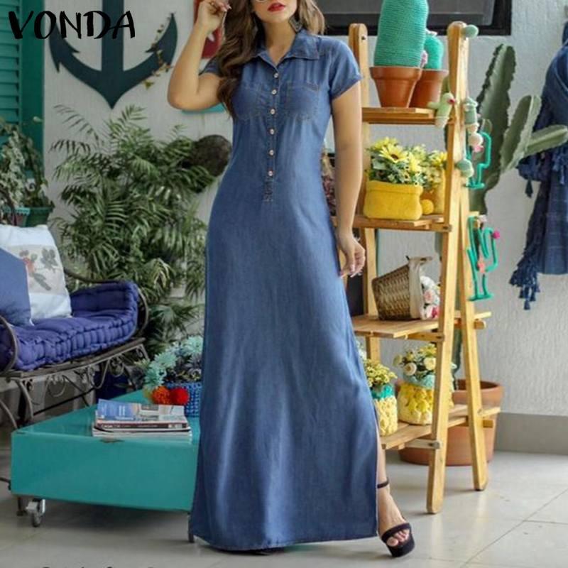 AliExpress VONDA – robe décontractée à col rabattu et manches courtes pour Femme, vêtement en denim, style