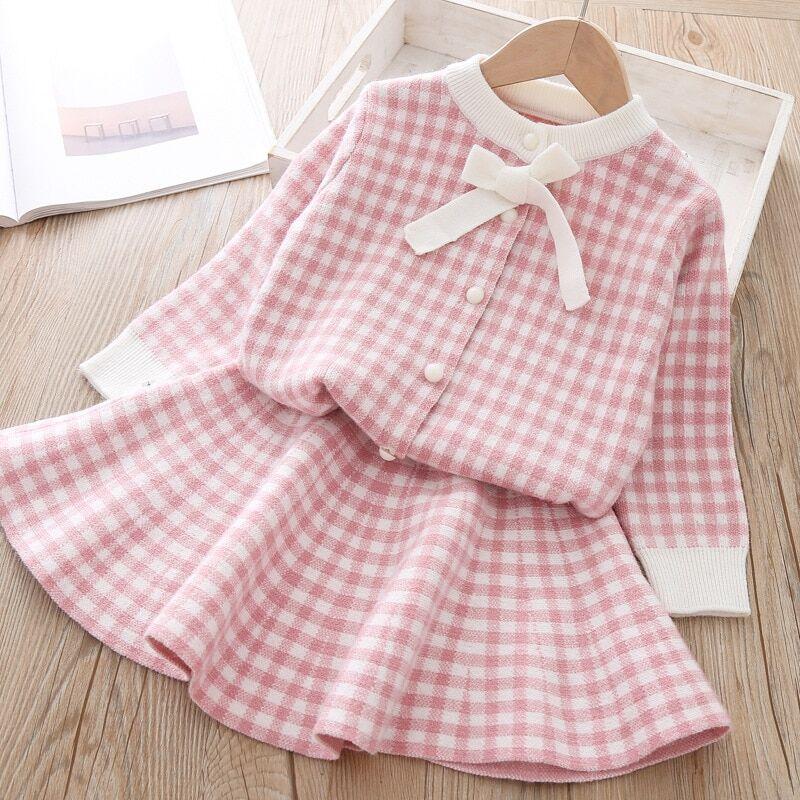 AliExpress Ensemble de vêtements en coton pour bébé fille, 2 pièces, chemise + jupe, pull tricoté, 3T, automne