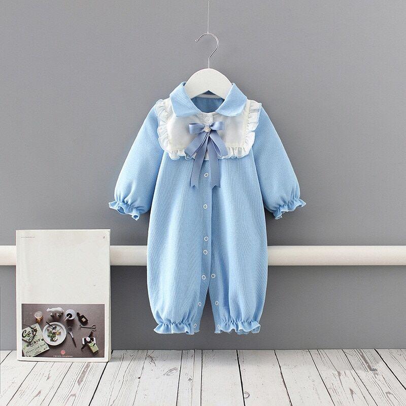 AliExpress Barboteuse bleue en coton pour bébé de 0 à 18 mois, vêtements pour nouveau-né, manches longues, col