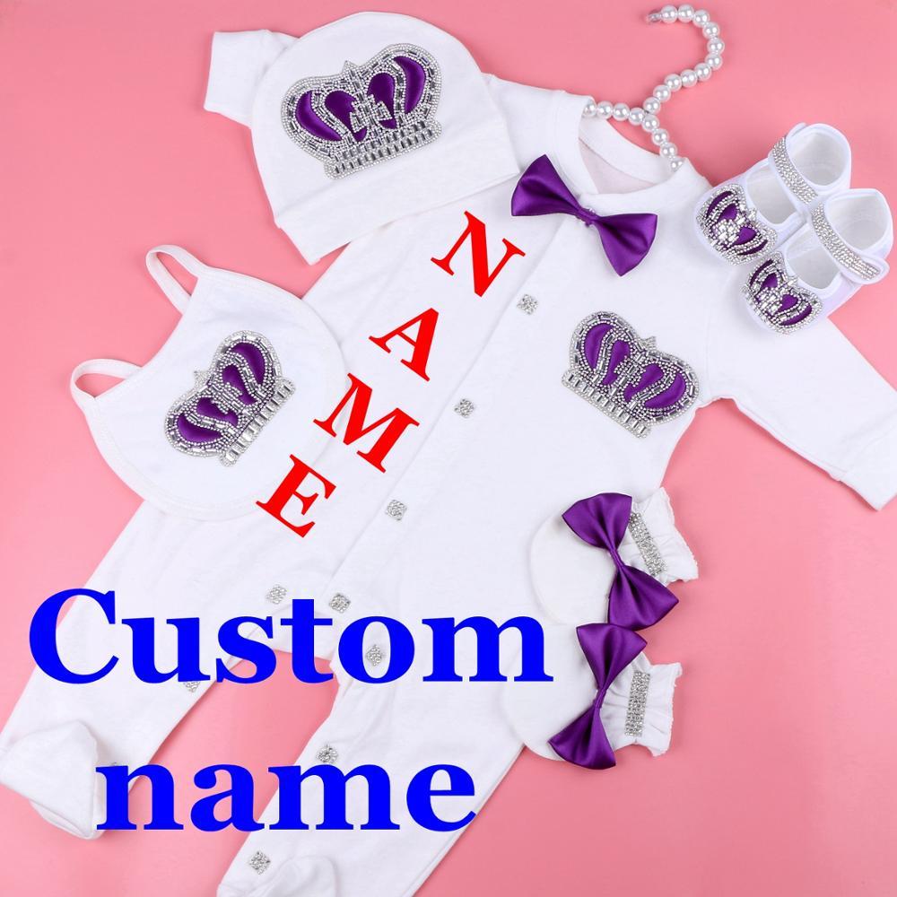 AliExpress Ensemble pyjama blanc en coton pour bébé, combinaison avec nom personnalisé, vêtements pour