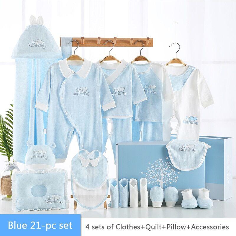 AliExpress Barboteuse en coton pour bébé, 21 pièces, ensemble de sous-vêtements pour nouveau-né, cadeau de
