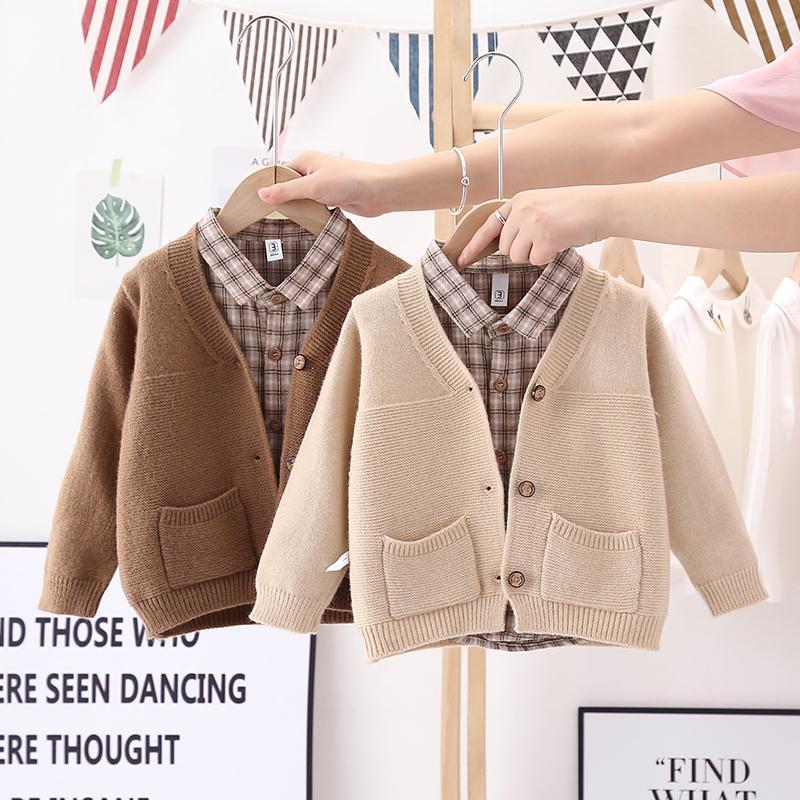 AliExpress Cardigan en coton pour bébé garçon de 1 à 4 ans, veste de printemps et d'automne avec poche en