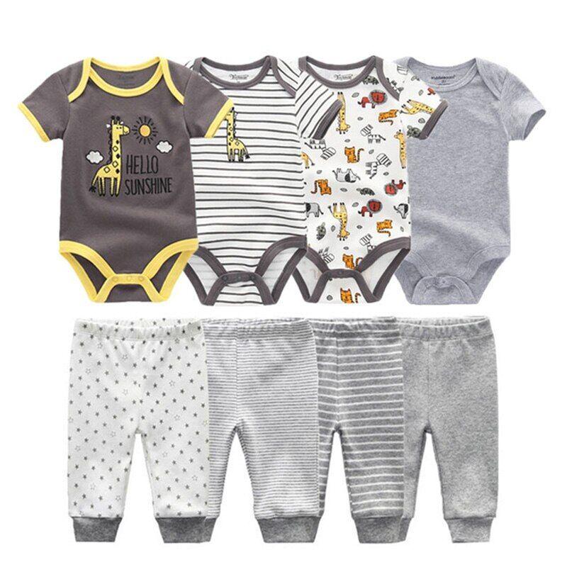 AliExpress Ensemble en coton pour bébé fille et garçon, 6/8 pièces, body + pantalon unisexe, manches courtes,