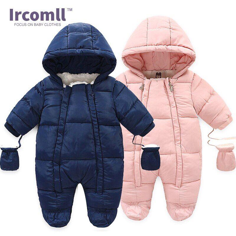 AliExpress Ircomll – combinaison chaude en coton pour bébé, barboteuse à capuche, intérieur en polaire, garçon