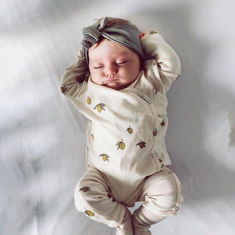 AliExpress Pyjama en coton pour bébé, une pièce épaisse, barboteuse longue, avec boucle latérale, collection