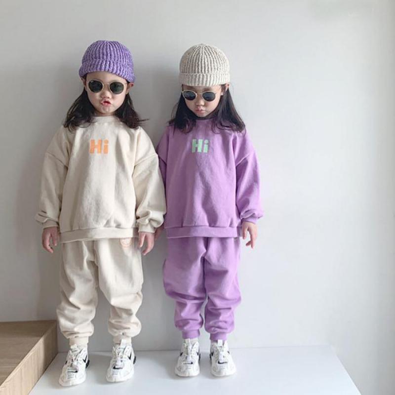AliExpress Sweat-shirt en coton pour bébé, ensemble 2 pièces pour garçon et fille, survêtement ample, haut +