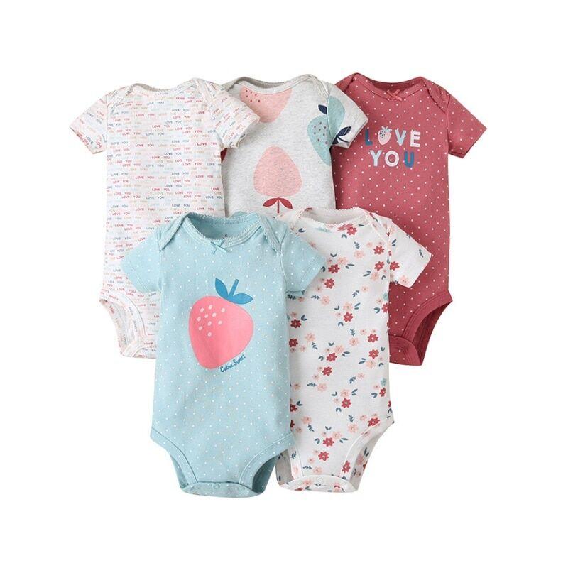 AliExpress Body d'été en coton pour bébé fille, 5 pièces, combinaison pour nouveau-né, imprimé Floral, dessin