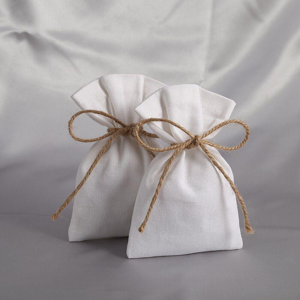 AliExpress Sac à bijoux en coton blanc en toile de jute, 50 pièces, sac cadeau pour fête de mariage, bonbons de