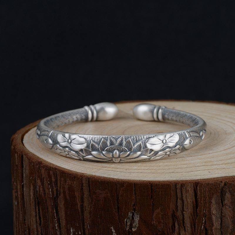 AliExpress Bracelet tibétain en argent pour femmes, Mantra en Six mots, Vintage, poisson Lotus ouvrable, bijoux