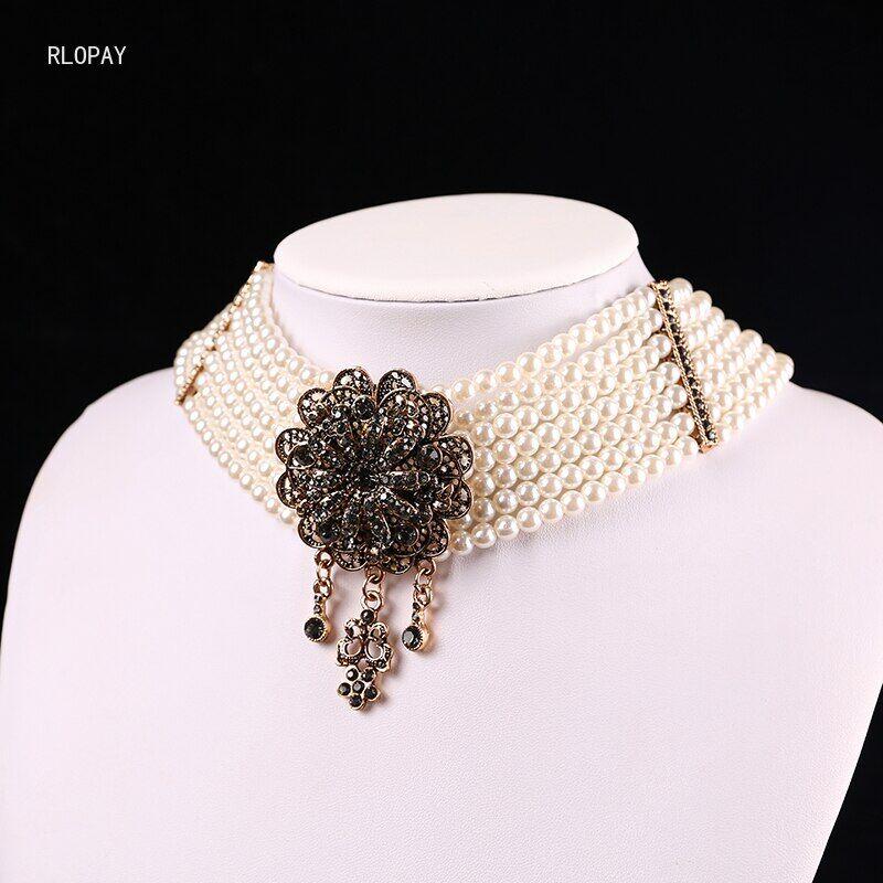 AliExpress Collier ras du cou en perles algériennes pour femmes, collier de luxe en pierre grise et fleur,