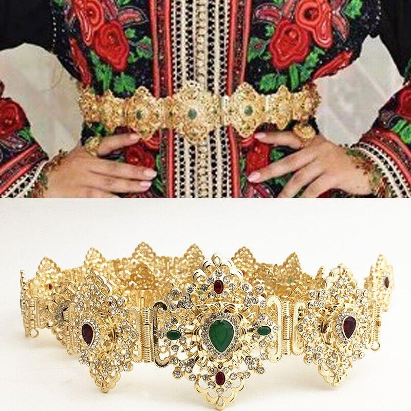 AliExpress Chaîne de taille en métal cristal marocain, bijoux caftan, ceinture de mariage algérien, goutte