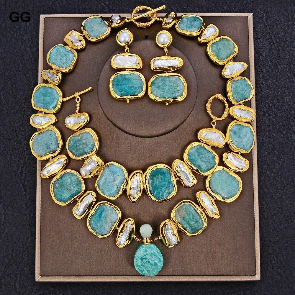 AliExpress GG – ensemble de boucles d'oreilles, bijoux naturels d'eau douce, perle blanche Biwa verte, pépite