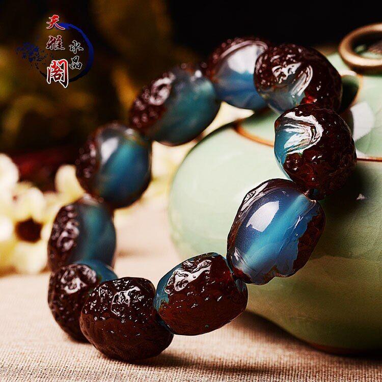 AliExpress Bracelet en cire d'abeille ambre avec pierre brute, Bracelet en vieux cuir ambre bleu, Bracelets