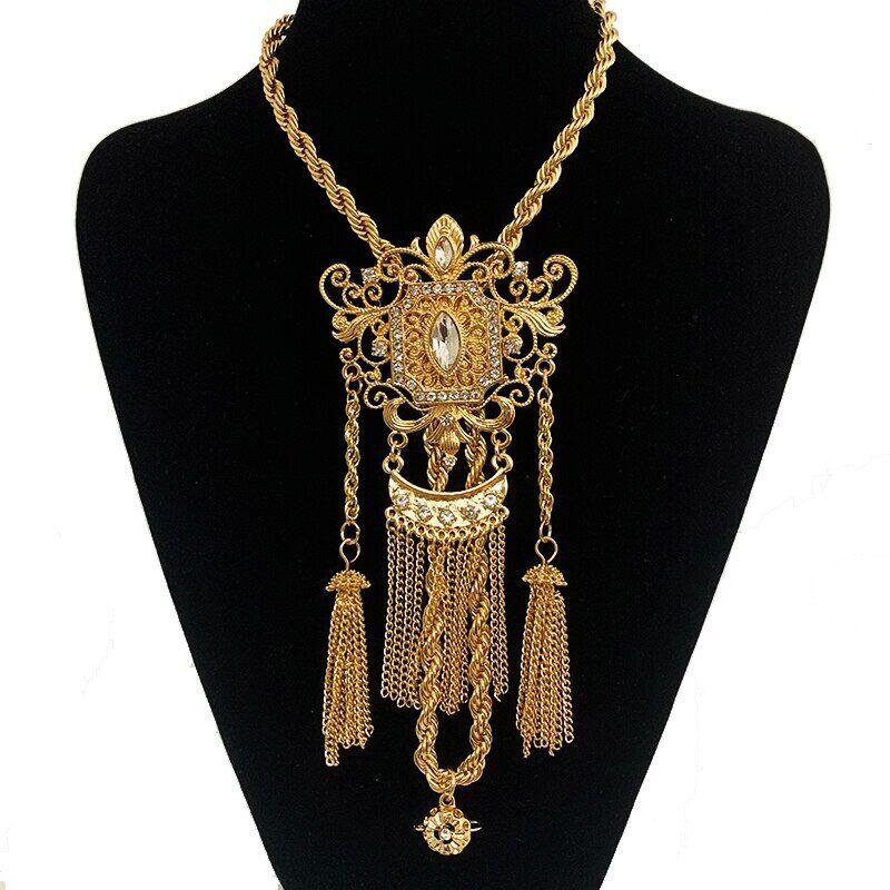 AliExpress Collier de mariage de luxe algérien avec longue chaîne en strass, pendentifs coulissants, glands en