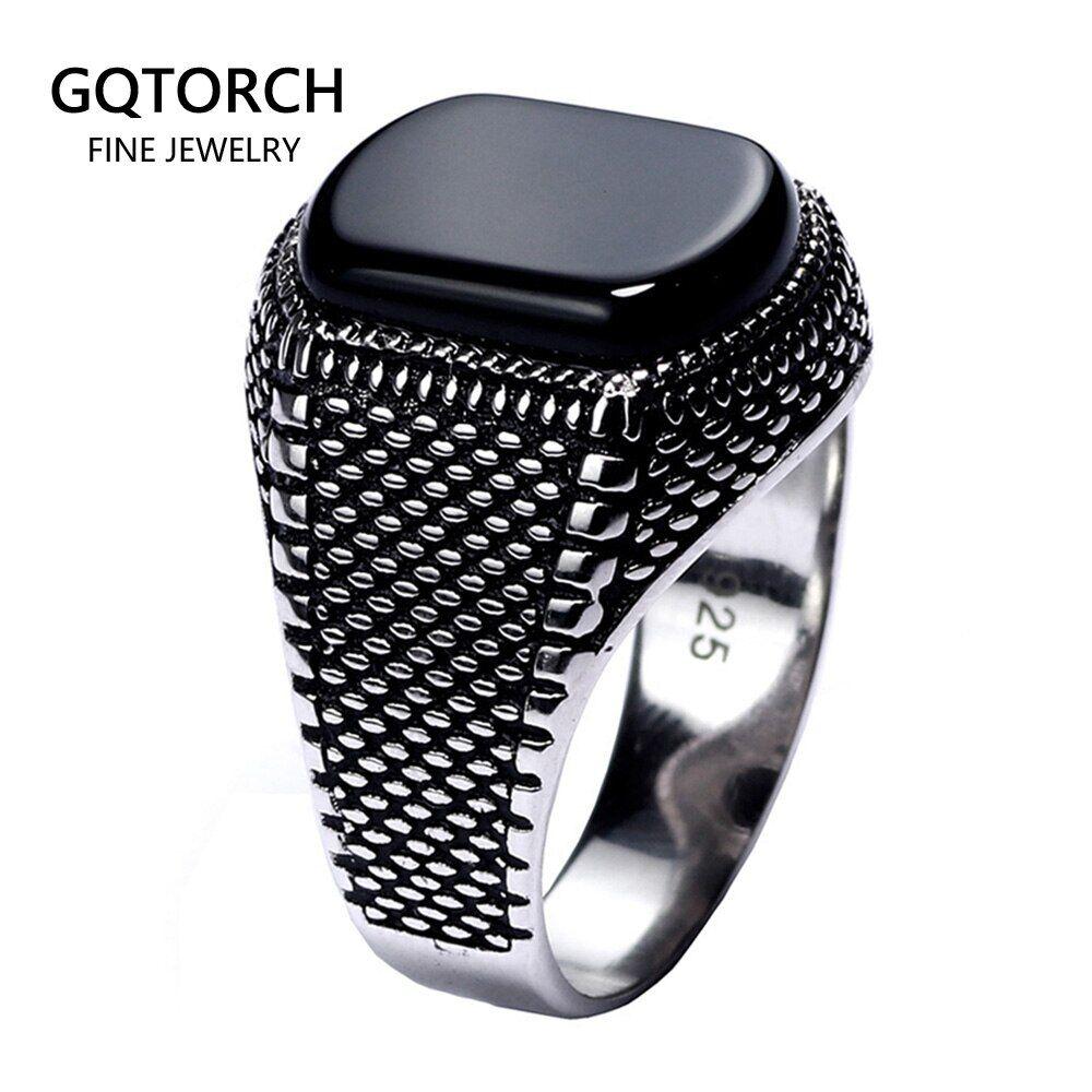 AliExpress Bague noire, argent 925 S véritable et pierre d'agate naturelle, pour homme, bijou turc ultraléger,