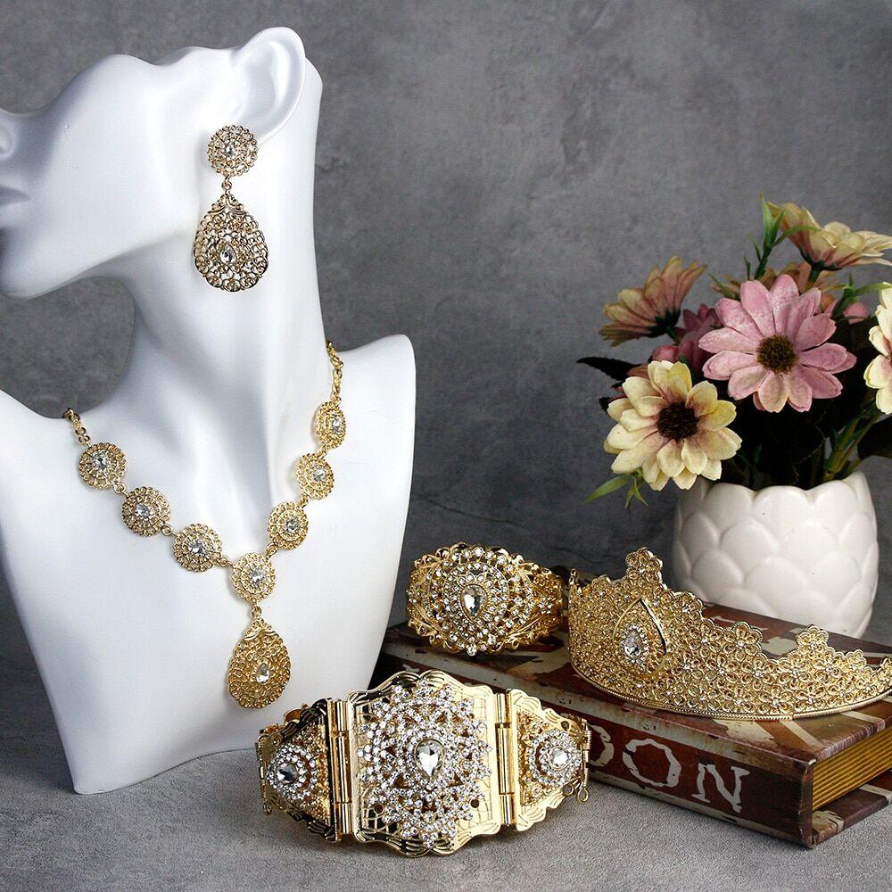 AliExpress Sunspicems – ensemble de Bijoux de mariage pour femmes, couleur or, algérien, maroc, collier, boucle