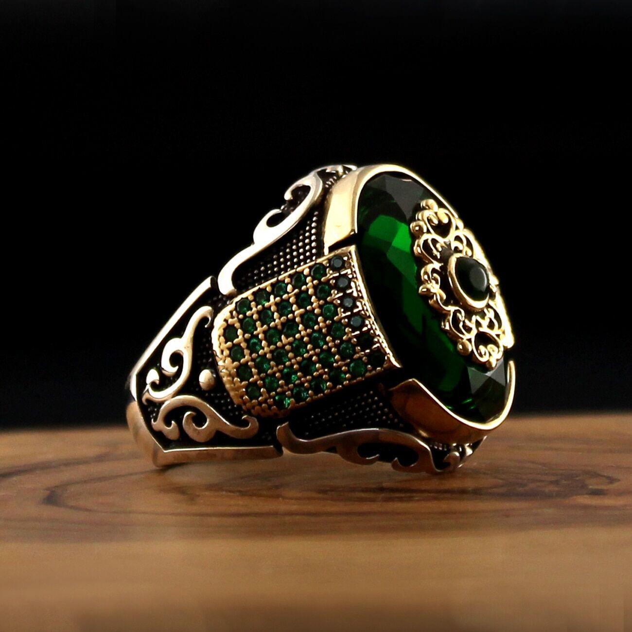 AliExpress Bague en argent Sterling 925 de Style turc pour hommes, bijoux en pierre naturelle, Zircon, Onyx,