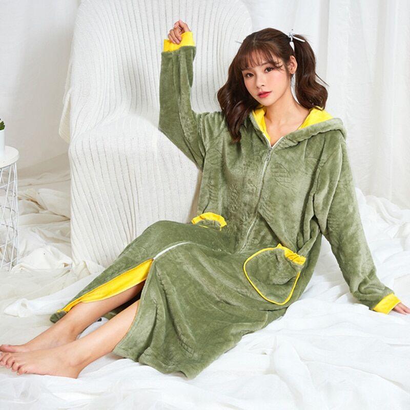 AliExpress Robe longue et chaude pour femme, en flanelle, corail, polaire, à capuche, thermique, vêtements de