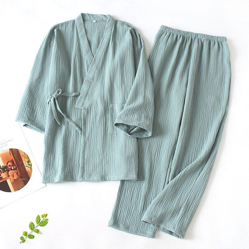 AliExpress Pyjama 100% coton pour hommes et femmes, peignoir ample, col en v, Kimono, vêtements de nuit trois