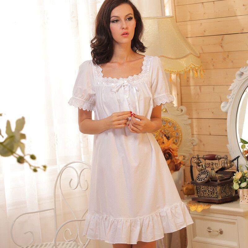 AliExpress Robe de nuit blanche en coton pour femmes, vêtement d'intérieur Sexy, de marque, tenue de princesse
