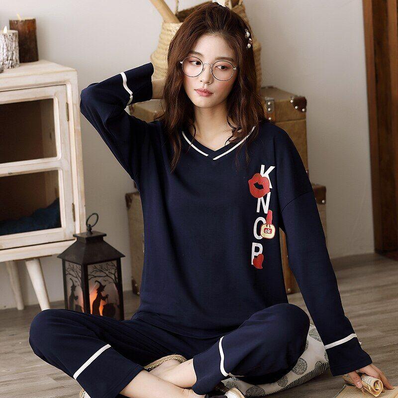 AliExpress Pyjama noir à manches longues pour femmes, vêtements de maison en coton, col en v, grande taille, M