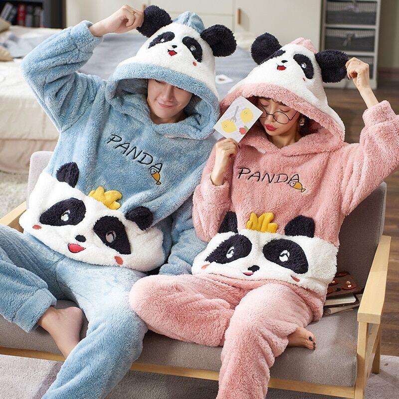 AliExpress Pyjama d'hiver épais pour Couples, vêtements de nuit pour femmes et hommes, motif Panda de dessin