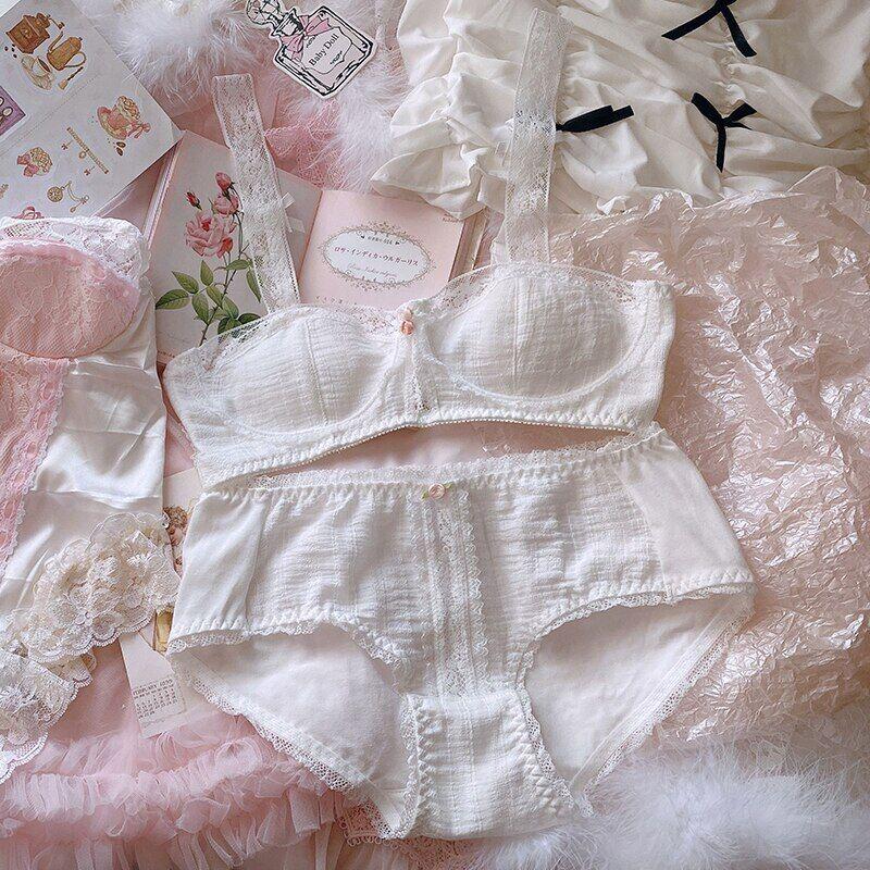 AliExpress Ethka – ensemble de sous-vêtements en coton et dentelle pour femmes, 2 pièces, blanc doux, français,