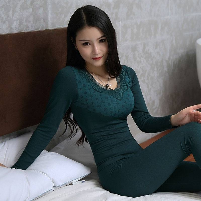 AliExpress Sous-vêtements thermiques longs pour femmes, dentelle, col en v, Slim, sans couture, nouvelle