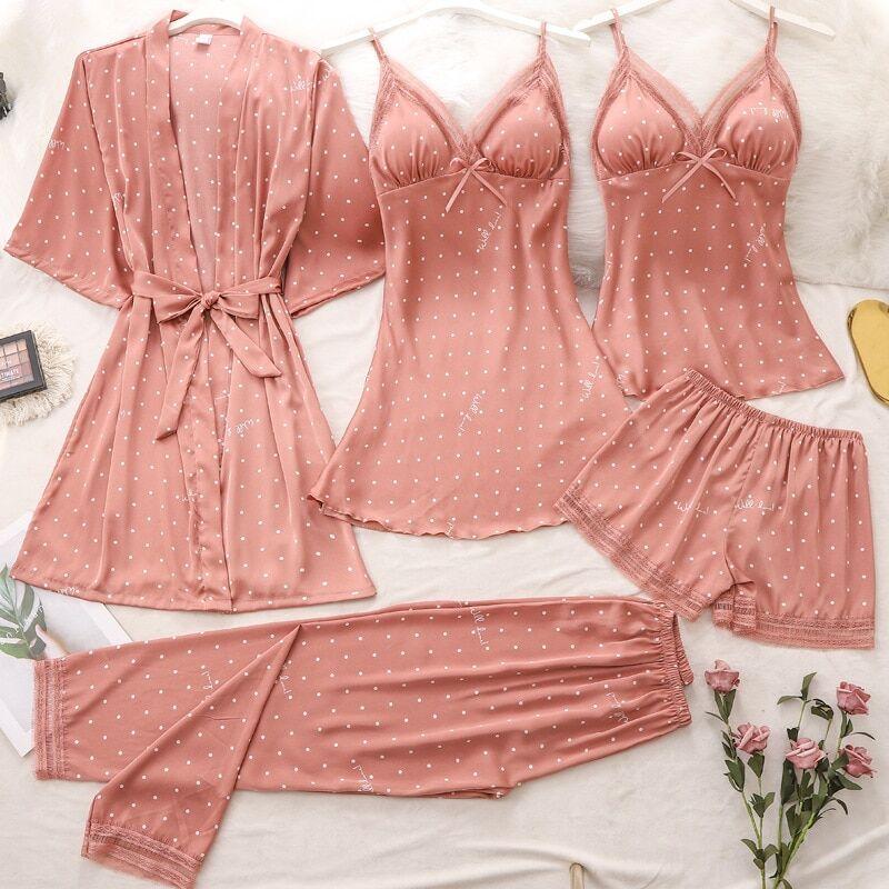 AliExpress Ensemble de pyjama 5 pièces pour femmes, haut et pantalon à bretelles, vêtements de nuit, en Satin