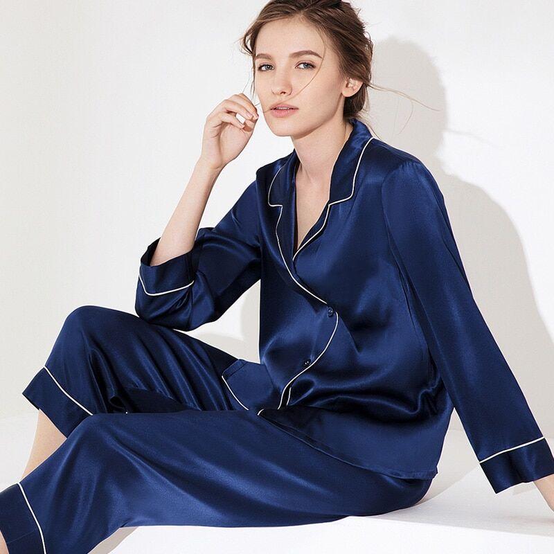 AliExpress Pyjama en soie 100% naturelle pour femmes, lingerie sexy, en satin, vêtements de nuit, ensemble,
