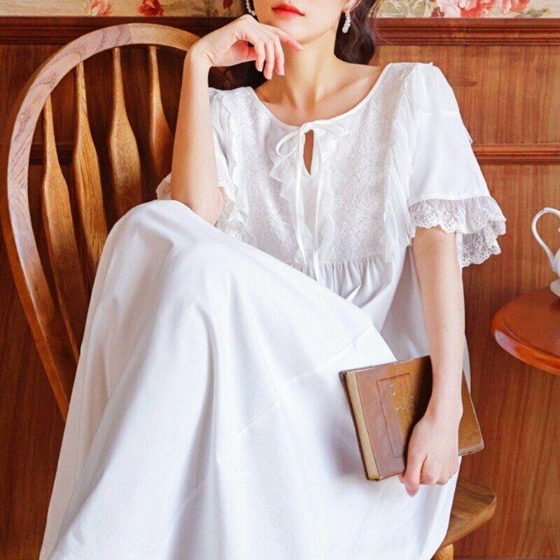 AliExpress Robe de nuit Vintage en coton pour femmes, vêtements de nuit princesse en dentelle blanche,