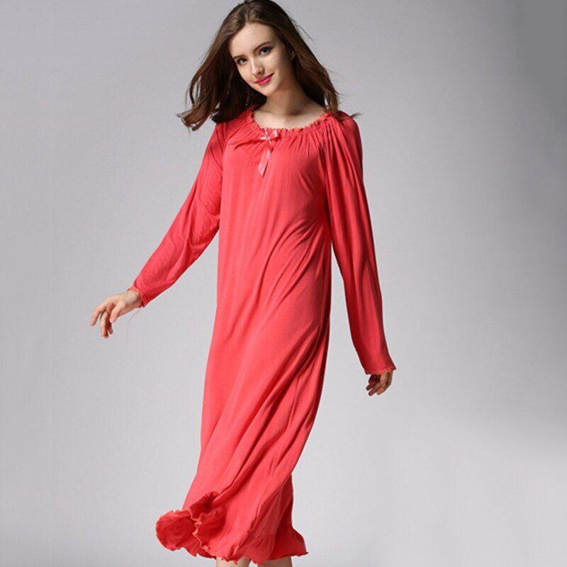 AliExpress Chemise de nuit longue en coton pour femmes, vêtements de nuit, grande taille, printemps, automne