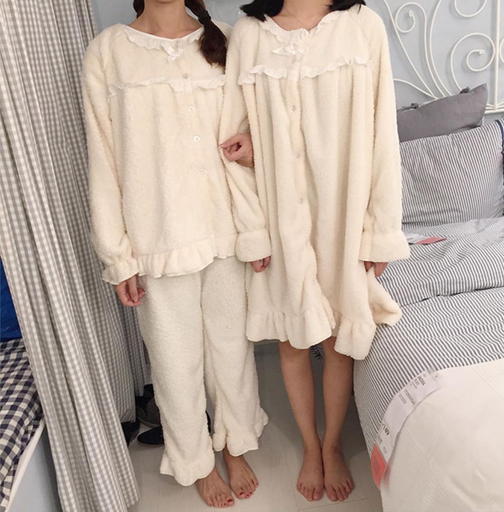 AliExpress Pyjama épais et chaud pour femme, vêtements de nuit, pantalon en velours, nouvelle collection hiver