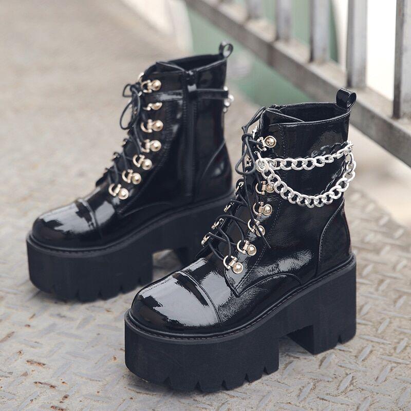 AliExpress Femmes gothique bottines Zip Style Punk plate-forme chaussures Goth hiver chaussons à lacets talon