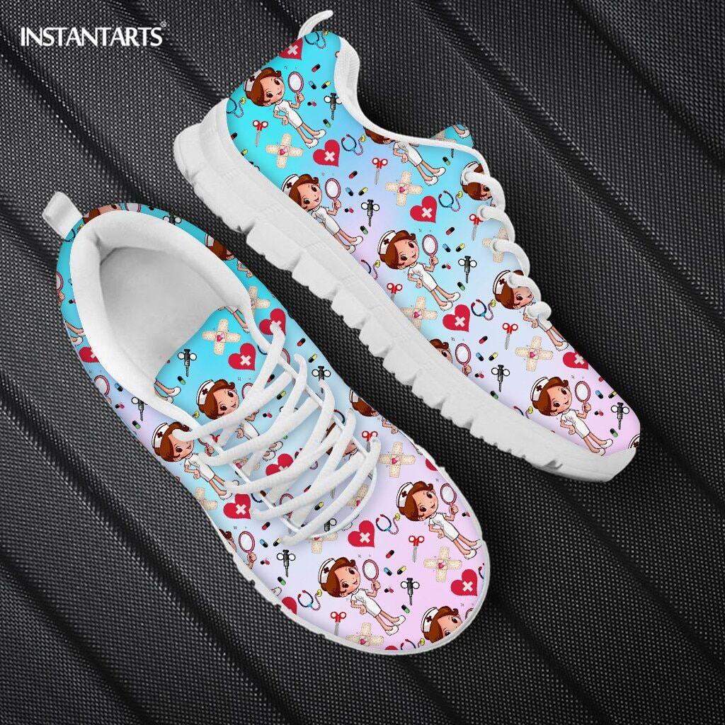 AliExpress INSTANTARTS – chaussures plates à lacets pour femmes, baskets de réveil respirantes, motif