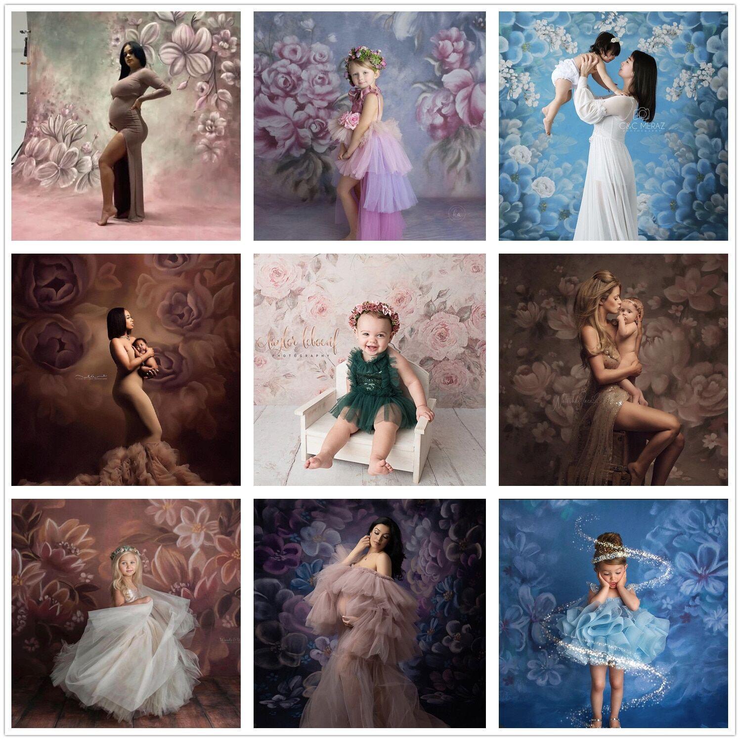 AliExpress Arrière-plan pour photographie, toile de fond pour peinture à l'huile, fleurs, pour portrait de bébé