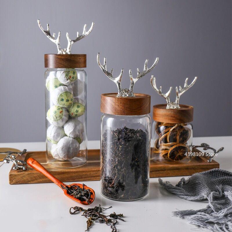 AliExpress Bouteille nordique en verre sans plomb, pot de stockage alimentaire domestique, couvercle en bois
