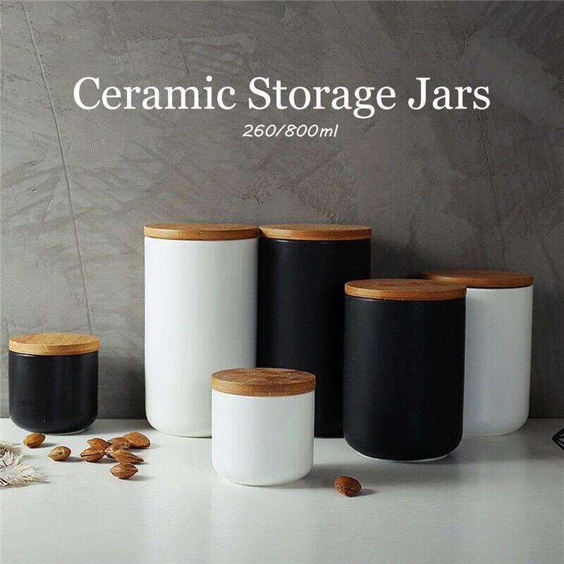AliExpress Bocaux de rangement en céramique, couvercles en bois, boîtes à thé, café, sucre, fournitures de