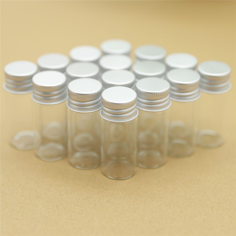 AliExpress Petites bouteilles en verre de 22x50mm, 10ml, avec bouchon à vis en argent, petits bocaux, Mini