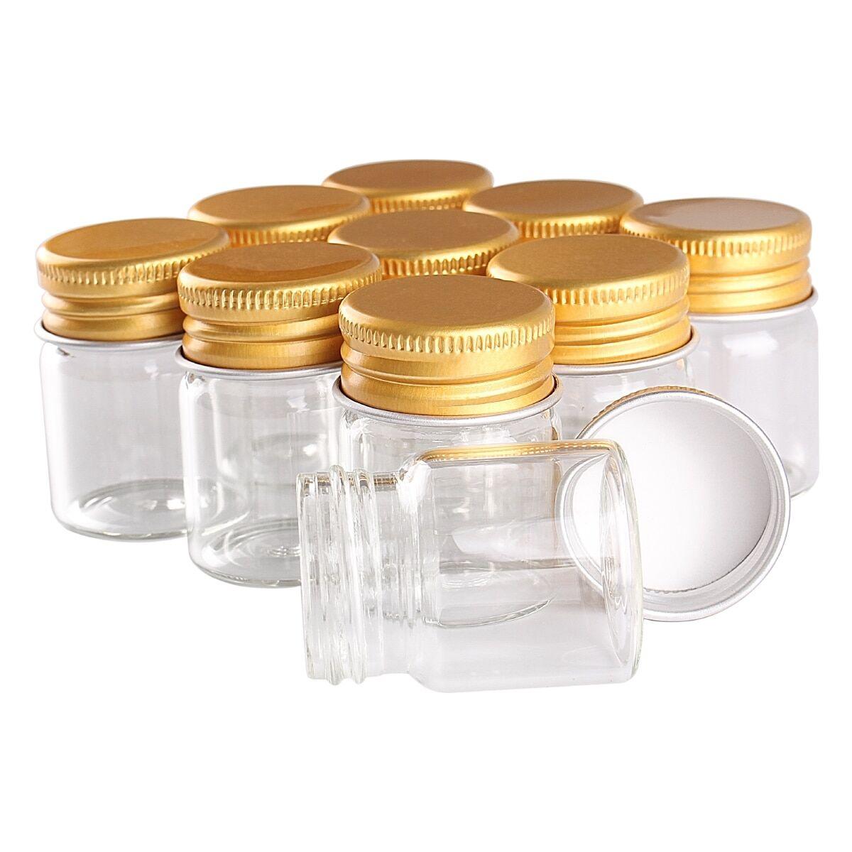 AliExpress Bouteilles en verre avec bouchons en aluminium doré, bocaux en verre de 15ml, 30x40mm, 24 pièces